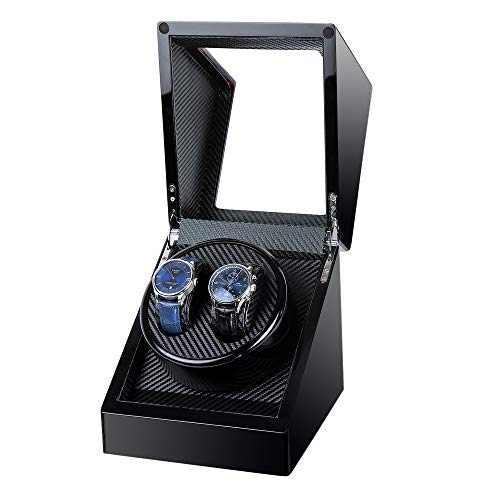 Kalawen Double Wooden Watch Winder for Automatic with Quiet Motor, Battery Powered or AC Adapter (Black)
