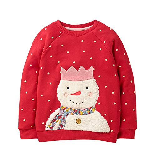 HUAER& Baby Girl Cotton Long Sleeved Pullover Sweatshirt (5T(Height:43inch/110cm), Red & Snowman)