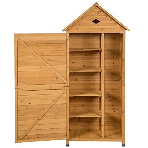 COSTWAY Gartenschrank Holz, Gerätehaus wetterfest, Geräteschuppen Werkzeugschrank Garten, Holzschuppen mit Satteldach, Gartenschuppen Geräteschrank (177x80x45cm)