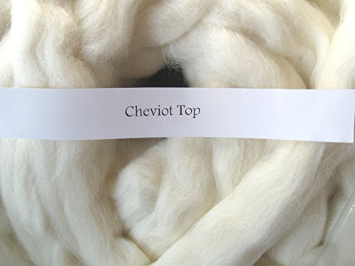 1lb Cheviot Wool Roving Combed Top Undyed Natural