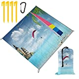 WINCAN Manta de Picnic 145x150cm,Tropical Hawaii Beach Velero en la Arena Hojas de Palma Estatua de la Libertad Big Ben Torre Eiffel en el mar Paracaidismo Deporte