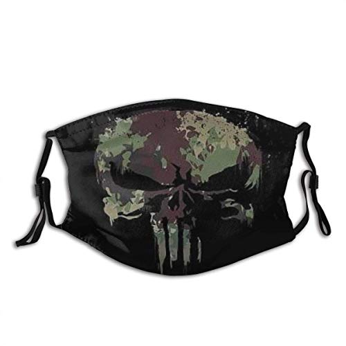 Face Mask Camo Skull The Punisher Skull Balaclava Unisex Reusable Windproof Gaiter with 2 Filters for Kids Men Women