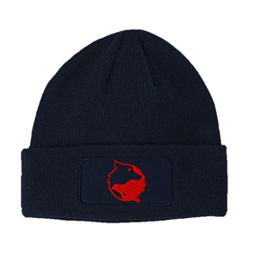 Custom Patch Beanie Yin Yang Wolf Red Embroidery Acrylic Skull Cap Hats for Men & Women Navy Design Only