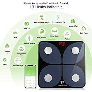 Bluetooth Body Fat Scale, Healthkeep Smart Wireless BMI Bathroom Weight Scale Body Composition Monitor Health Analyzer with Smartphone App for Body Weight, Fat, Water, BMI, BMR, Muscle Mass 396 lbs