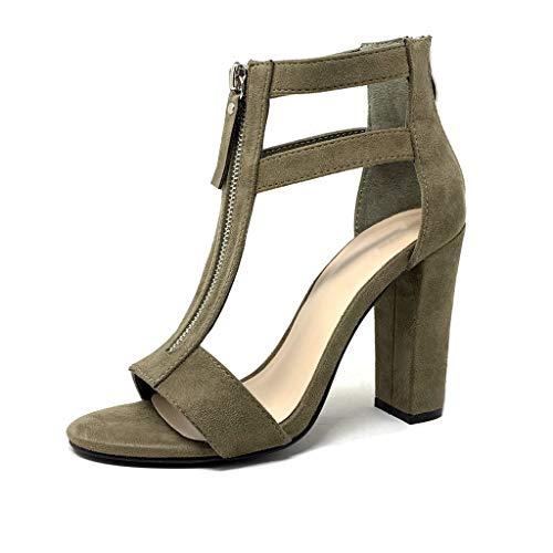 Angkorly - Chaussure Mode Escarpin Sandale Sexy salomés Hauts Talons Femme Fermeture Zip lanière lanière Talon Haut Bloc 10.5 CM - Vert - CB62 T 39