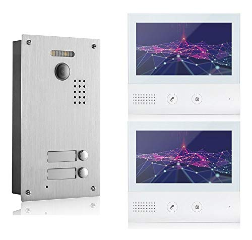 GVS 2-Draht/IP Video-Türsprechanlage, 2 Familienhaus Set, Handy-App, 2X 7 Zoll Monitor, Tür-Öffner, Foto-/Video-Speicher, Türstation, 2 MP Kamera, 170° Erfassungswinkel, AVS7038-7071-22