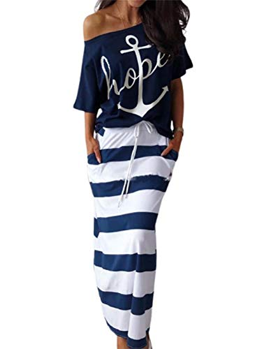 MISOMEE Women Boat Anchor Print Short Sleeve T-Shirt & Stripes Drawstring Elastic Waist Skirt Sets with Pocket XL Purplish Blue