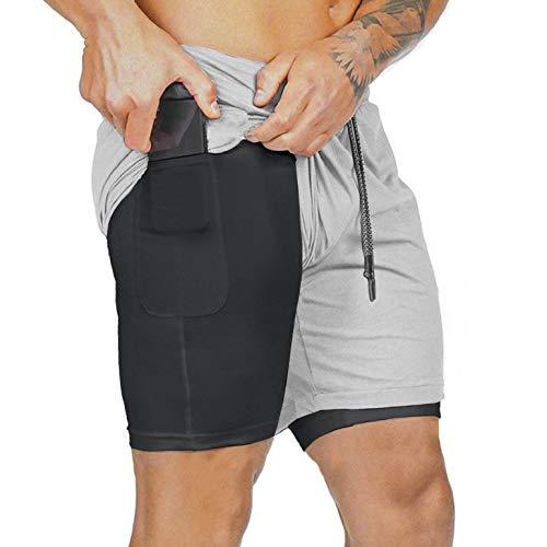 heekpek Pantalones Cortos Hombre Sport Verano Shorts Deportivos Transpirables de Doble Capa con Bolsillos Pantalon Corto Hombre Deporte