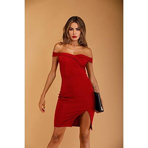 Hanks 'Shop. Kleid EIN-Schulter Split Open Back Solid Color-Kleid (Color : Red, Size : M)