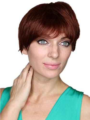 Prettyland Rot Braun Kurz-Haar Perücke Unisex Damen & Herren Stufen-Schnitt Glatt Trendy Pixie Cut Frisur C629