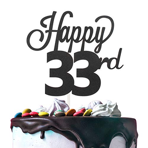 LINGTEER Happy 33rd Birthday Black Cake Topper Perfect for Cheers to 33 Years Old Birthday Party Gift Decorations Sign.