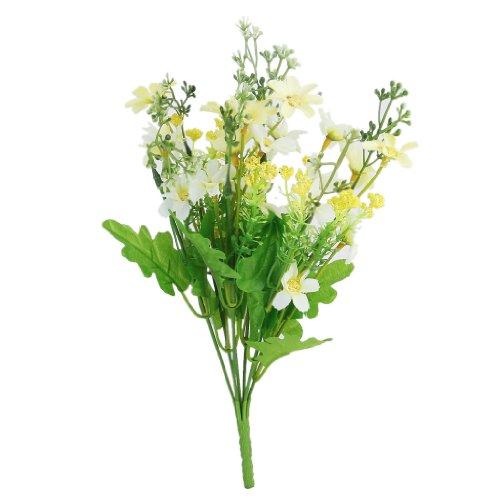 1 Bouquet de Cinéraire Faux Bouquet de Fleurs Artificielles pour Décor de Maison / Bureau - Jaune Clair et Blanc