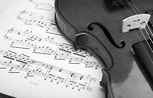 Fototapete selbstklebend Violine - schwarz weiß 155x100 cm - Bildtapete Fotoposter Poster - Klassik Melodie