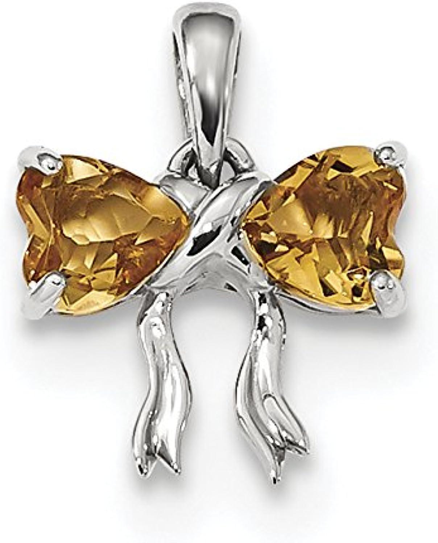 Diamond2Deal 14k White gold Polished Citrine Bow Pendant