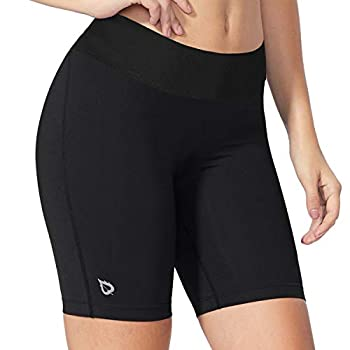 BALEAF Women s 7  Compression Yoga Long Shorts Spandex with Pocket Workout Running Black Size L