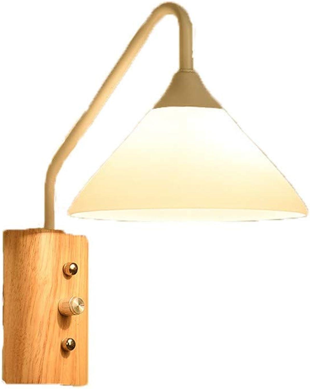 ZEWORLD Kreative Minimalistischen Schlafzimmer Modernes Wohnzimmer Gang Holz Kunst Holz- Nachttischlampe Wandleuchte, Wei