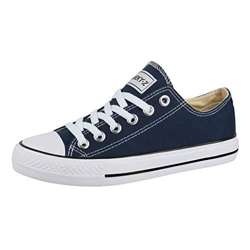 Elara Unisex Sneaker Low top Turnschuh Textil Chunkyrayan 36-46 01-A-Blau-36