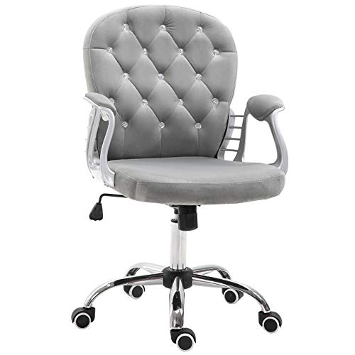 Vinsetto Vanity Middle Back Office Chair Tufted Backrest Swivel Rolling Wheels Task Chair with Height Adjustable Comfortable with Armrests, Grey