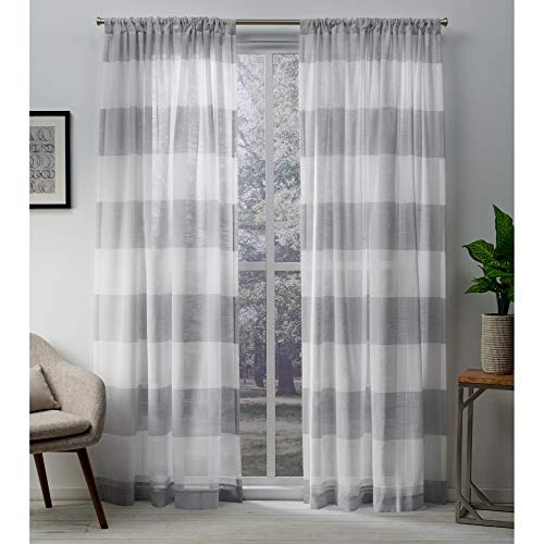 Exclusive Home Curtains Darma Sheer Linen Window Curtain Panel Pair with Rod Pocket, 50x108, Dove Grey, 2 Piece