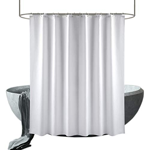 wiipara Cortina de ducha textil lavable, cortina de baño, duradera, resistente al agua, cortina de ducha de tela, cortina de baño con 12 cortinas de ducha (blanco, 180 x 230 cm)