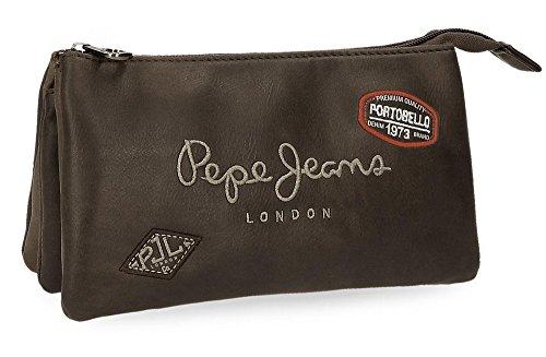 Pepe Jeans Duetone Estuche Triple Marrón 22x12x5 cms Piel Sintética