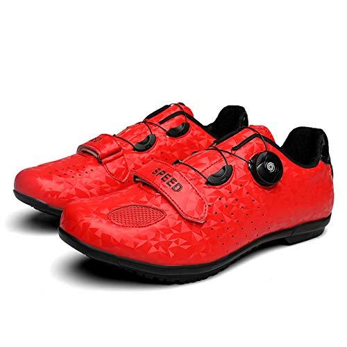 Zapatillas de ciclismo - Zapatillas unisex para bicicleta de carretera y montaña con botones giratorios Zapatillas deportivas asistidas, transpirables y antideslizantes para bicicletas de carrera
