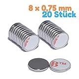 Neodym Magnet Selbstklebend Flach Mini Magnete 8mm x 0,75mm Scheibe- Bastelmagnete Scheibenmagnet...