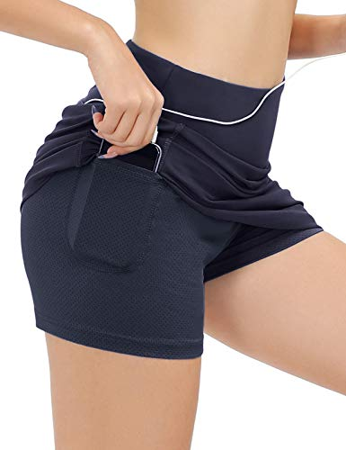 JACK SMITH Plus Size Athletic Skorts Exercise Skirt for Women with Phone Pocket(XL.Navy)