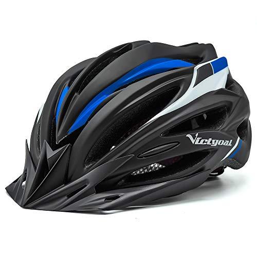 VICTGOAL Fahrradhelm Herren Damen MTB Mountainbike Helm mit Visier Abnehmbarer Sonnenschutzkappe und LED licht Radhelm Fahrradhelme für Erwachsenen 57-61 cm (Schwarz Blau)