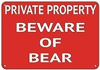 ベアティンサイン壁の装飾金属ポスターレトロプラーク警告サインクラフトオフィスカフェクラブバーに注意してください