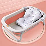 Baby Bathtub for Newborn, Foldable Infant Bath Tubs with Cushion Collapsible Kids Shower Tub, Gentle Support Multi-Stage Tub Non-Slip Sure Comfort Supporting Rack and Safety Lock (Pink)