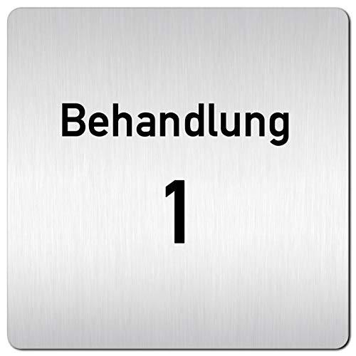 Kinekt3d Leitsysteme XXL Schild - Türschild • 125 x 125 mm • Behandlung - Behandlungsraum 1 • 1,5 mm Aluminium Vollmaterial • 100% Made in Germany
