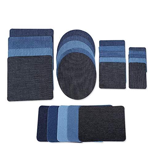 25 Stks 5 Size Iron on Patches voor Jeans Iron On Naaien Op Denim Patches voor DIY Kleding Tassen Iron-on Reparatie Kit, 5 Kleuren