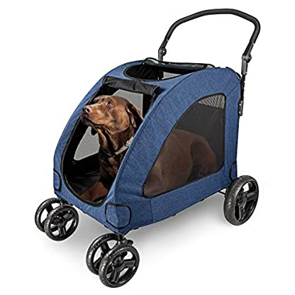 Pet Four-wheeled Stroller Dog Trolley Cat Carts Foldable for Medium Large Dogs Outgoing, Load Within 60kg (Blue) 1