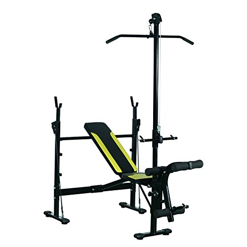 HOMCOM Banco de Pesas Ejercicios de Musculación 175x110x202cm Fitness con Respaldo Regulable Polea Alta Cuerda Color Negro