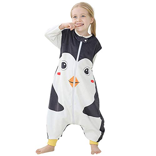 Riou Baby Winter Schlafsack mit füßen, Mädchen Junge Flanell Warm Babyschlafsack ohne Ärmel mit Beinen Overall Schlafanzug (5-6 Jahre, Schwarz)