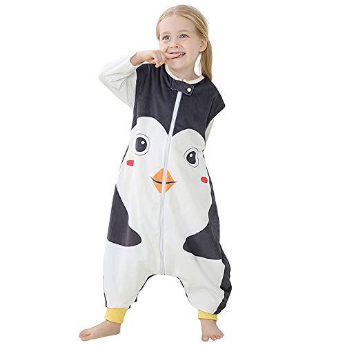 Riou Baby Winter Schlafsack mit füßen, Mädchen Junge Flanell Warm Babyschlafsack ohne Ärmel mit Beinen Overall Schlafanzug (1-3 Jahre, Schwarz)