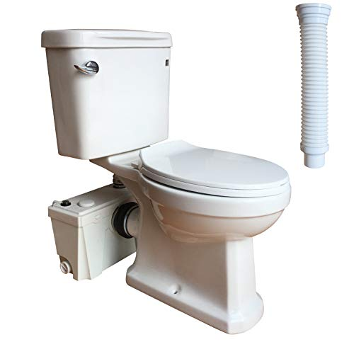 Macerating Toilet 3 piece Set with 500Watt Maerator Pump, Upflush Toilet System for Basement Room...