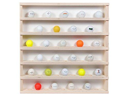 Golf-01: Vitrine murale en bois 52 x 52 x 6 cm collection balle de golf collecteur présentoire tableau d'affichage vitres en plexiglas clair meuble rangement étagère armoire placard bois nature