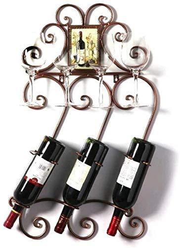 Estantería de vino Titular de la botella de vino Europea de hierro forjado de hierro colgante de vino Rack de vino Almacenamiento de vino Titular de copa Monte en la pared Rack de vino Pantalla de vin