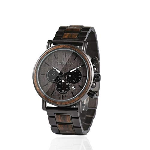 Bobo Bird Herren-Armbanduhr, aus Holz, stilvoll, aus Ebenholz und Edelstahl, kombiniert, Chronograph