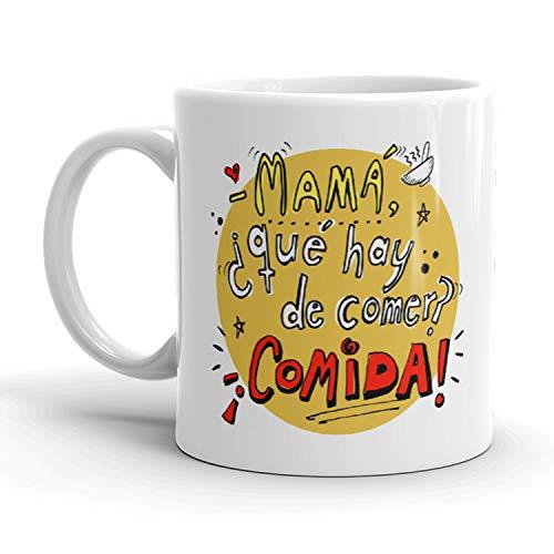 Kembilove Taza de café para Mamá – Taza de Desayuno Divertidas y Graciosas para Madres con Mensaje Mamá ¿Qué hay de comer? – Ideal para regalar el día de la Madre