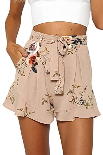 Tomwell Pantalones Cortos Verano para Mujer Estampados Florales Perneras Anchas Informal para La Playa Casual Alta Cintura Elástica Cordón Shorts Holgados con Bolsillos B Caqui S