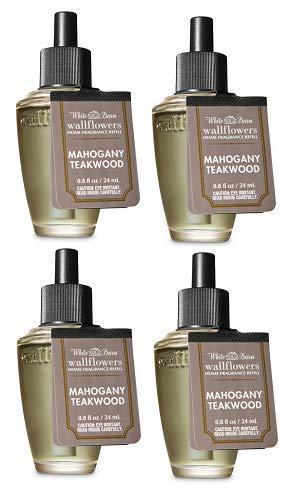 Bath and Body Works 4 Pack Mahogany Teakwood Wallflowers Fragrance Refill. 0.8 fl oz.