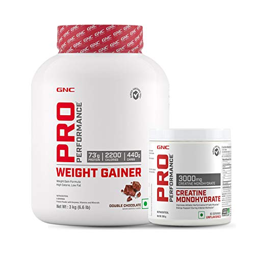 GNC Pro Performance Weight Gainer - 6.6 lbs, 3 kg (Double Chocolate) and Pro Performance Creatine Monohydrate 3000 mg (250gm) (Unflavored)