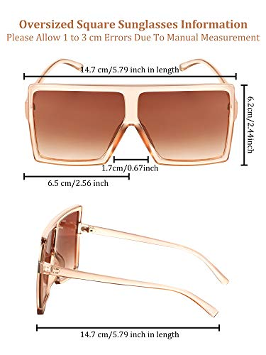 3 Pieces Oversized Square Sunglasses Flat Top Fashion Oversized Shades for Women