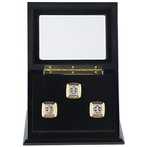 RECHIATO Championship Ring Display Case Sports Ring Storage Box Wooden Black Velvet Lining (3 Slots, Slanted)