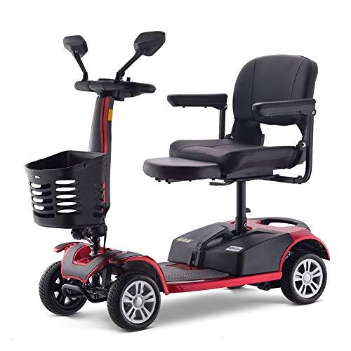 HUJUNG Bicicleta eléctrica del Triciclo 3 Ruedas Scooters eléctricos Rojo/Negro Vespa eléctrica con Asiento Adultos
