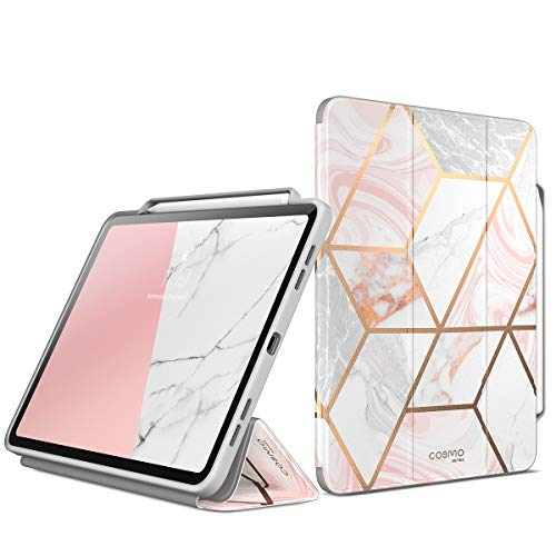 New iPad Pro 11 Inch Case, i-Blason [Cosmo] Trifold Stand Protective Case Cover with Auto Sleep/Wake & Pencil Holder for Apple iPad 11 Inch 2018 Release (Marble)
