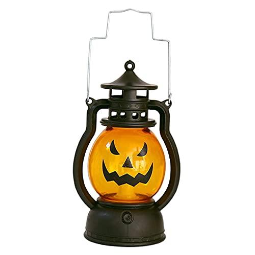 harayaa Linterna de Calavera de Calabaza de Halloween Decoraciones de Halloween portátiles para el hogar Bar Restaurante Atrezzo de atmósfera de Terror - B